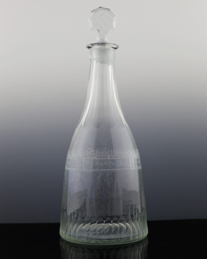Georgian Fluted, Band Engraved Decanter