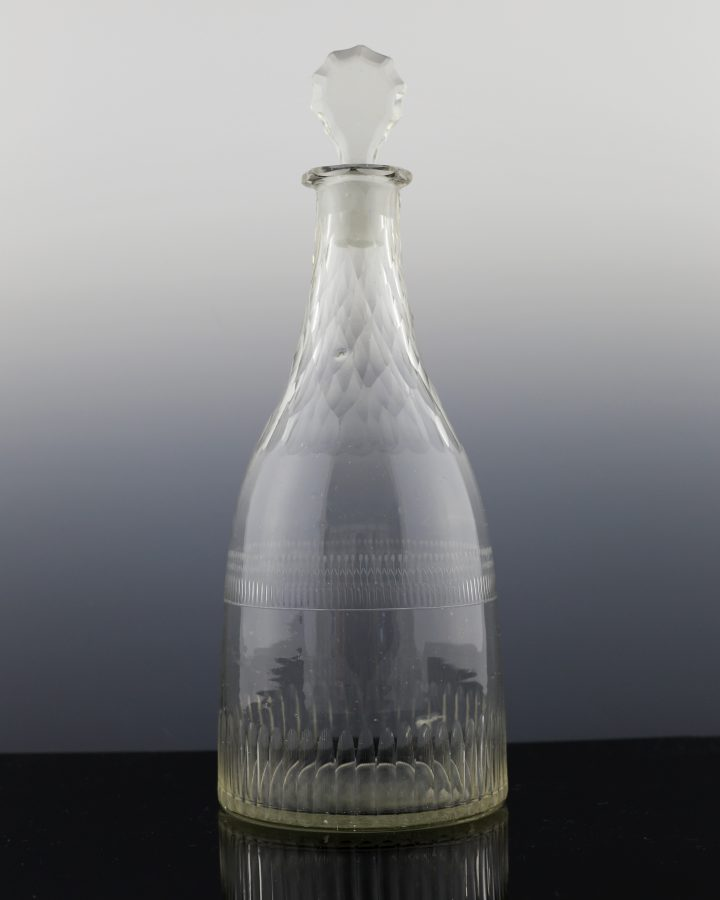 Georgian Fluted Engraved & Diamond Cut Decanter