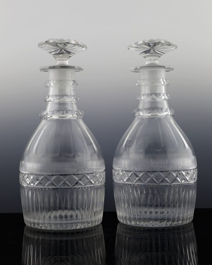 Pair Of Cut Glass Regency Decanters