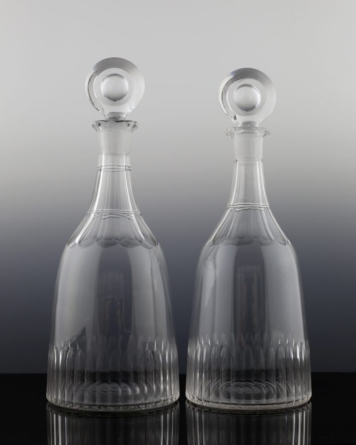 Pair of Indian Club Bullseye Stpper Decanters